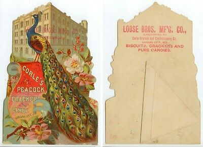c1880s beautiful Corle's Peacock Crackers Candy stand-up trade card Kansas City