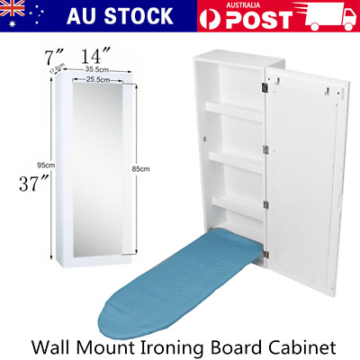 4in1Wall Mount Ironing Board Cabinet Center with Storage Shelves+Dressing Mirror