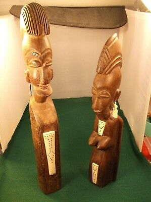 Rare Old Vtg? Antique? Pair Of Hand Carved African? Wood & Bone Statues Man Wife