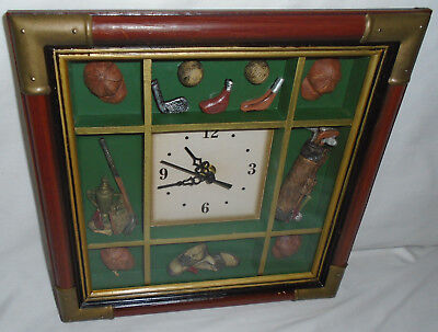 """Vintage 11"""" square Golf themed wall mount clock - boxed sectioned"""