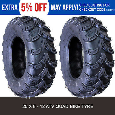 Pair of 6 ply 25x8-12 Tyre Tire Suzuki King Quad 700 Quadrunner vinson king ATV