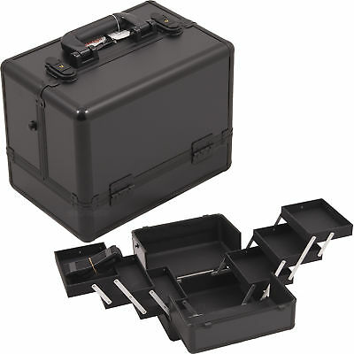 All Black 3-Tiers Accordion Trays Makeup Cosmetic Case - C3002