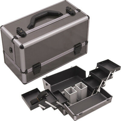 Gun Metal Smooth Pattern 3-Tiers Accordion Trays Professional Cosmetic Makeup...