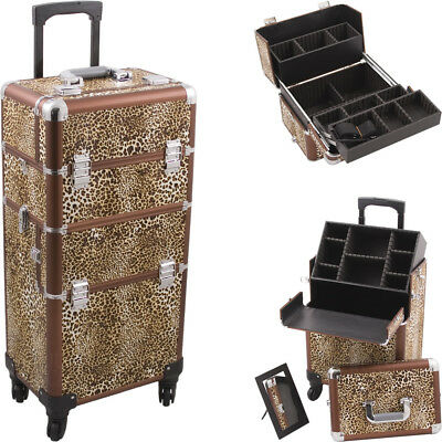 Leopard Printing Texture 4-Wheels Professional Rolling Aluminum Cosmetic Make...