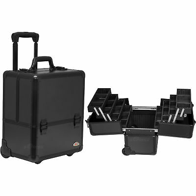 4-Tiers Easy-Slide Accordion Trays  Pattern Professional Rolling Makeup Case ...