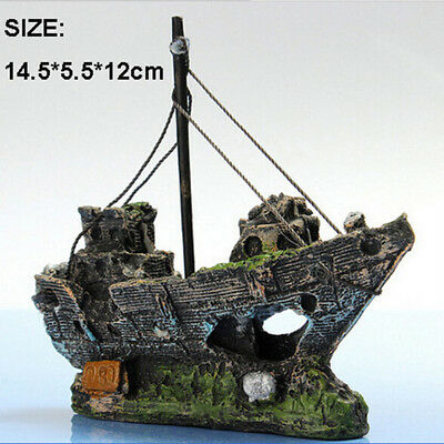 Aquarium Ornament Wreck Sailing Boat Sunk Ship Destroyer Fish Tank Cave Decor AU