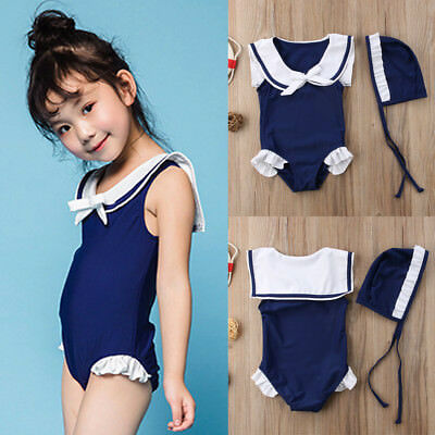 Kid Baby Girls Toddler Sailor Swimsuit Swimwear Bathing Suit Bikini Tankini Set