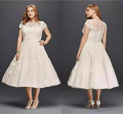 VINTAGE TEA LENGTH Short White/Ivory Wedding Dress Plus Size Lace ...