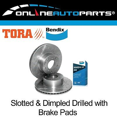 2 Front Slotted+Dimpled Disc Rotors + Bendix Brake Pads Commodore VT VX VU VY VZ