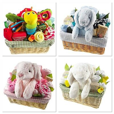 New Baby Shower Gift Wicker Basket Hamper ... Clothes, toy and toiletries