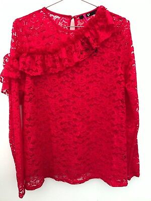 V By Very Red Lace Frill Front Long Sleeve Top Size 14