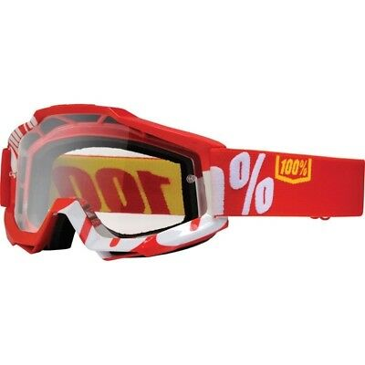 100% Percent Accuri Mx Motocross Goggles Fire Red / Wit - Clear Lens