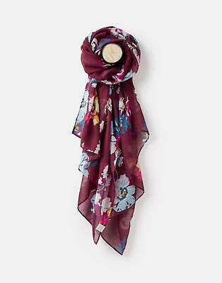 Joules 124978 Womens Longline Printed Polyester Scarf in BURGUNDY POSY