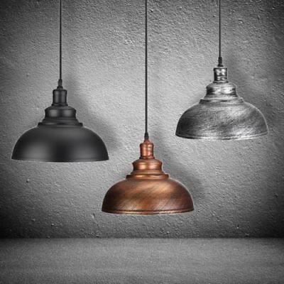 Iron Vintage Industrial Retro Pendant Lamp Shade Kitchen Hanging Ceiling + BULB