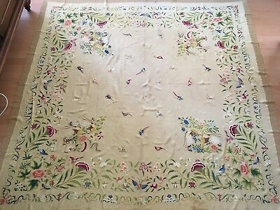 19th ANTIQUE CHINESE SILK HAND EMBROIDERIED ON SILK SHAWL birds butterflies