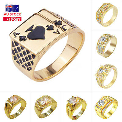 Mens Fashion Gold Plated Crystal Engagement Wedding Party Band Promise Ring Gift