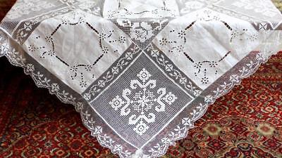 """B83 NOBLE HANDMADE TABLECLOTH 57x55"""" CUTWORK EMBROIDERY & FILET LACE"""
