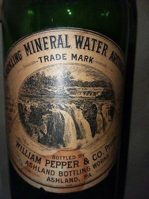 Rare 1800s apple green mineral water bottle Ashland, pa.