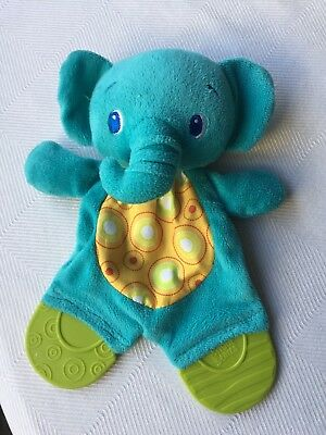 Bright Starts Elephant Baby Security Blanket Teether Crinkle Toy Teal Green Blue
