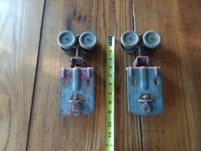 Vintage Barn Door Trolley Hanger Roller Pair, Working Condition
