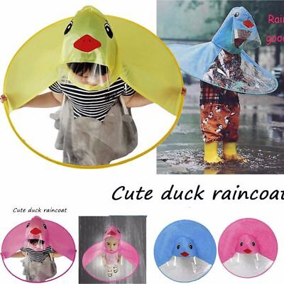 Cartoon Cute Rain Coat UFO Children Umbrella Hat Magical Hands Free Raincoat