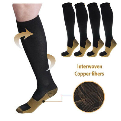 2 Pairs Compression Socks Miracle Copper Anti Fatigue Unisex Travel Comfort