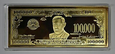 RARE 4oz $100,000 WILSON FED. RESERVE NOTE CURRENCY 999 SILVER GOLD MONEY BAR