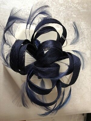 New Small Navy Blue Hair Comb fascinator Ladies Race Day Wedding Accessories 0890df06958