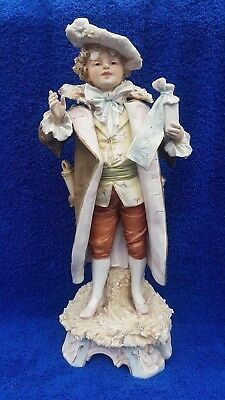 Royal Dux Antique Porcelain Figurine  Of Elegantly Dressed Boy Pink E Mark 1900