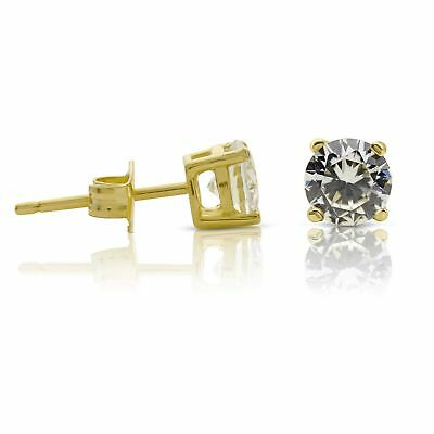 1afaa40be Kezef Creations 14K Gold Plated Sterling Silver CZ Stud Earrings with 5.25mm