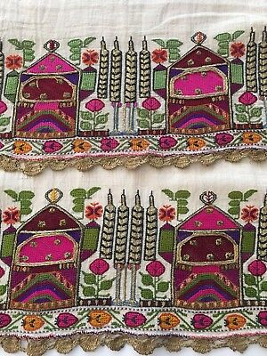 Rr Antique Ottoman Turkish Silk Hand Embroidery On Fine Linen With