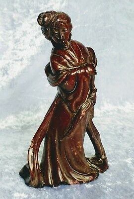 Chinese carved brown stone maiden lady figure figurine statue statuette