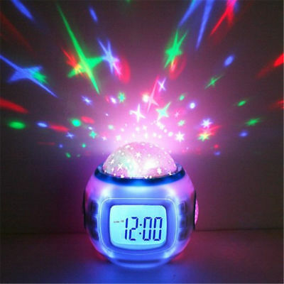 Music Starry Star Sky LED Projection Digital Alarm Clock Thermometer Calendar UA