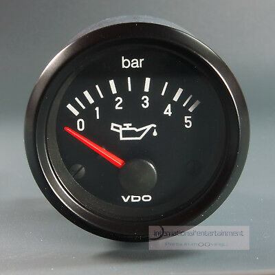 VDO OELDRUCK MANOMETER  DRUCKANZEIGER  5 bar GAUGE 12V  52mm Cockpit int: