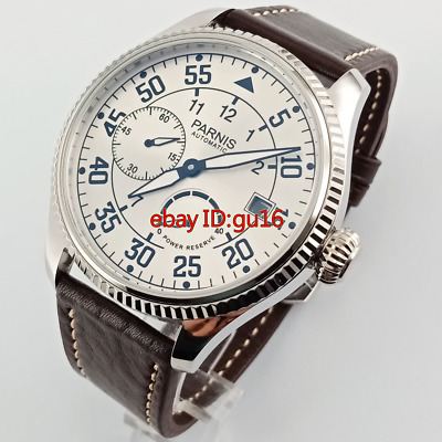 Parnis 45mm White dial Power Reserve Seagull Automatic mens steel  watch 2569