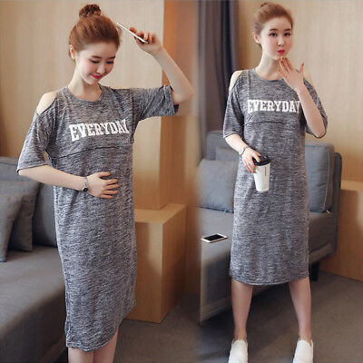 Nursing Breastfeeding Dress Off-shoulder Tunic Maternity Cute Comfy M/L/XL/2XL