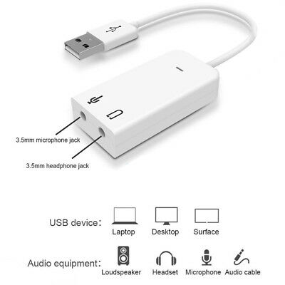 External Mini USB Virtual 3D 7.1 Channels Stereo Sound Card Audio Adaptor U.S.A
