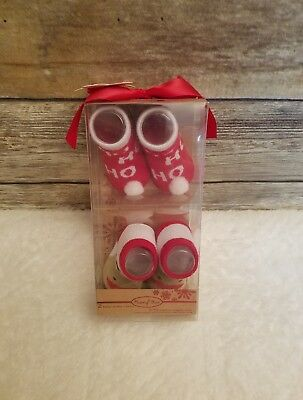 Rising Star Christmas Holiday Set Booties Socks Reindeer Size 0 - 12 Months New