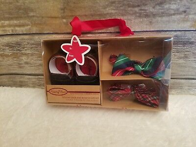 Rising Star Holiday Infant Boys Shoes & Bow-Tie Gift Set Christmas Size 6-9 mo.