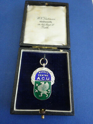 Wessex Centre Auto Cycle Union,silver & Enamel Fob Medal,in Original Case