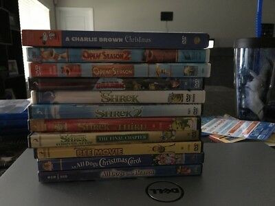Lot Of 11 Children Animated DVDs. Shrek 1-4, Open Season 1-2, Bee Movie