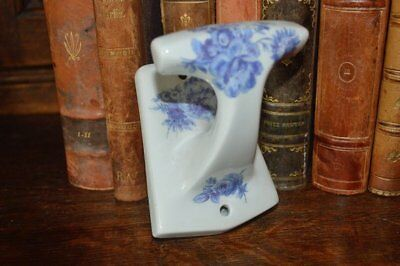 Vintage French Blue and White Porcelain China Floral Limoges Wall Hook
