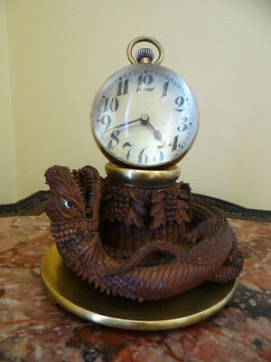 Exceptional Antique Big Crystal Ball Clock On Carved Dragon Base