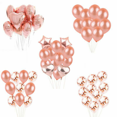 Rose Gold Confetti Balloon Assorted Heart Birthday Party Decor Wedding Supply