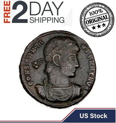 100% Authentic CONSTANTINE The GREAT IMPERIAL ROMAN EMPIRE BRONZE Ancient COIN