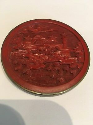Antique Vintage Chinese Red Cinnabar Lacquer Carved Plaque Coin Medal