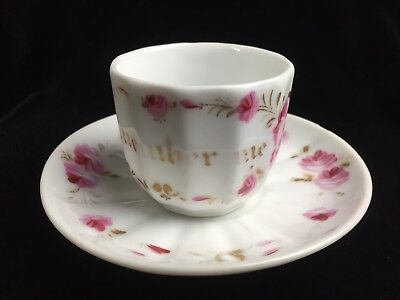 Antique Porcelain Remember Me Cup & Saucer Hand Painted Roses & Gold