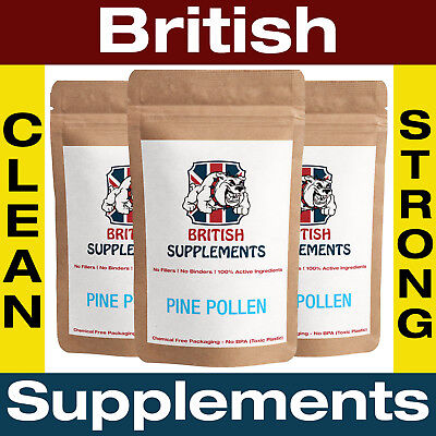 Clean Pine Pollen 422mg (99% Cracked Wall) Veg Capsules Rare British Supplements