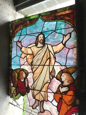 Antique Painted And Fired Stainglass Jesus And Angels Window 44.5 X 60