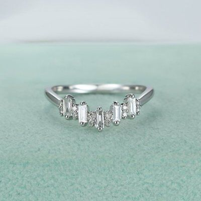 Classic Diamond Curved Eternity Band 14k White Gold 1.10 Ct White Baguette Cut